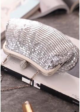 Mode Plissee Aluminium Silber Pailletten Bankett Taschen T901556173270